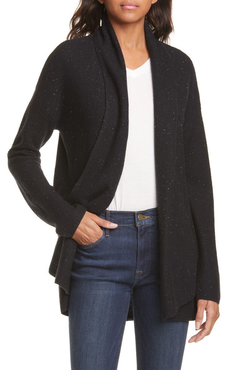NORDSTROM SIGNATURE Rib Cashmere Cardigan, Main, color, BLACK TWEED