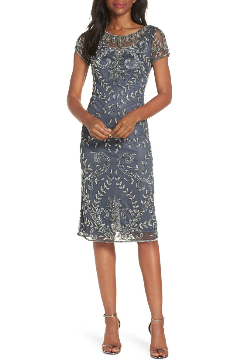 PISARRO NIGHTS Illusion Neck Beaded Sheath Dress, Main, color, 021