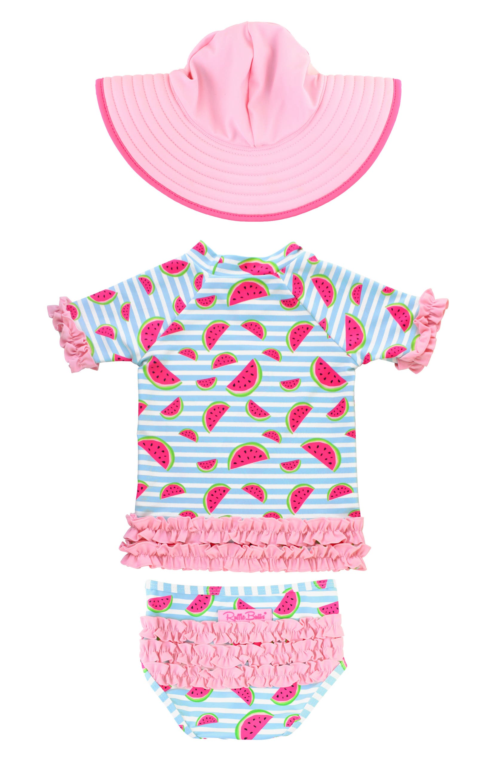 a38e7ef8c RuffleButts Watermelon Two-Piece Rashguard Swimsuit & Hat Set (Baby) |  Nordstrom