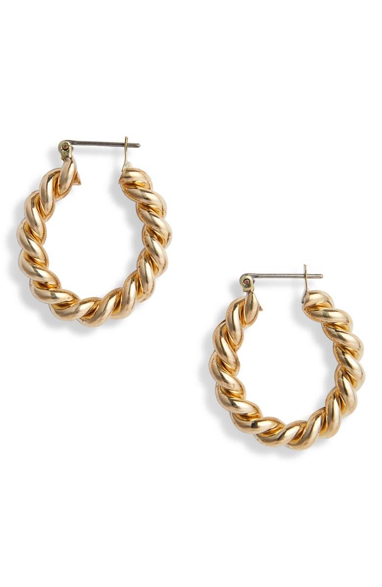 LAURA LOMBARDI Cara Hoop Earrings, Main, color, BRASS