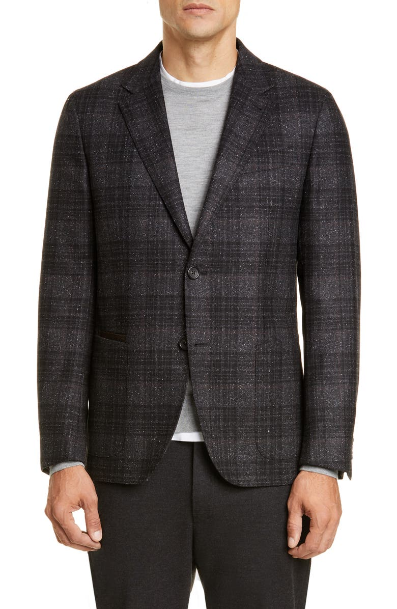 ERMENEGILDO ZEGNA Informale Classic Fit Plaid Wool Blend Sport Coat, Main, color, CHARCOAL