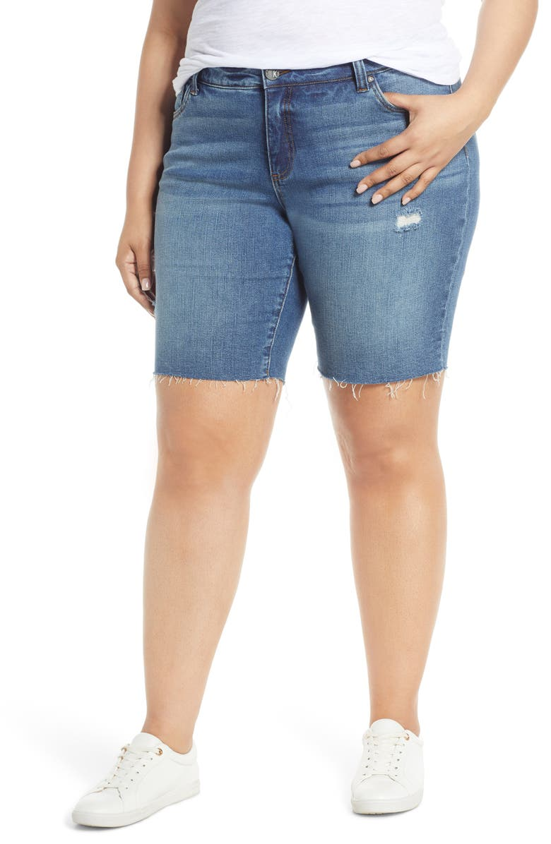 KUT FROM THE KLOTH Shirley Distressed Raw Hem Denim Bermuda Shorts, Main, color, QUOTABLE