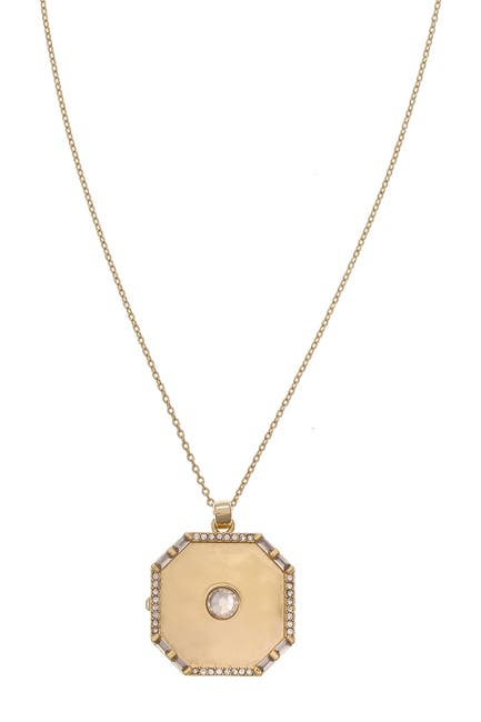 Image of Christian Siriano New York Crystal Accent Geometric Locket Pendant Necklace