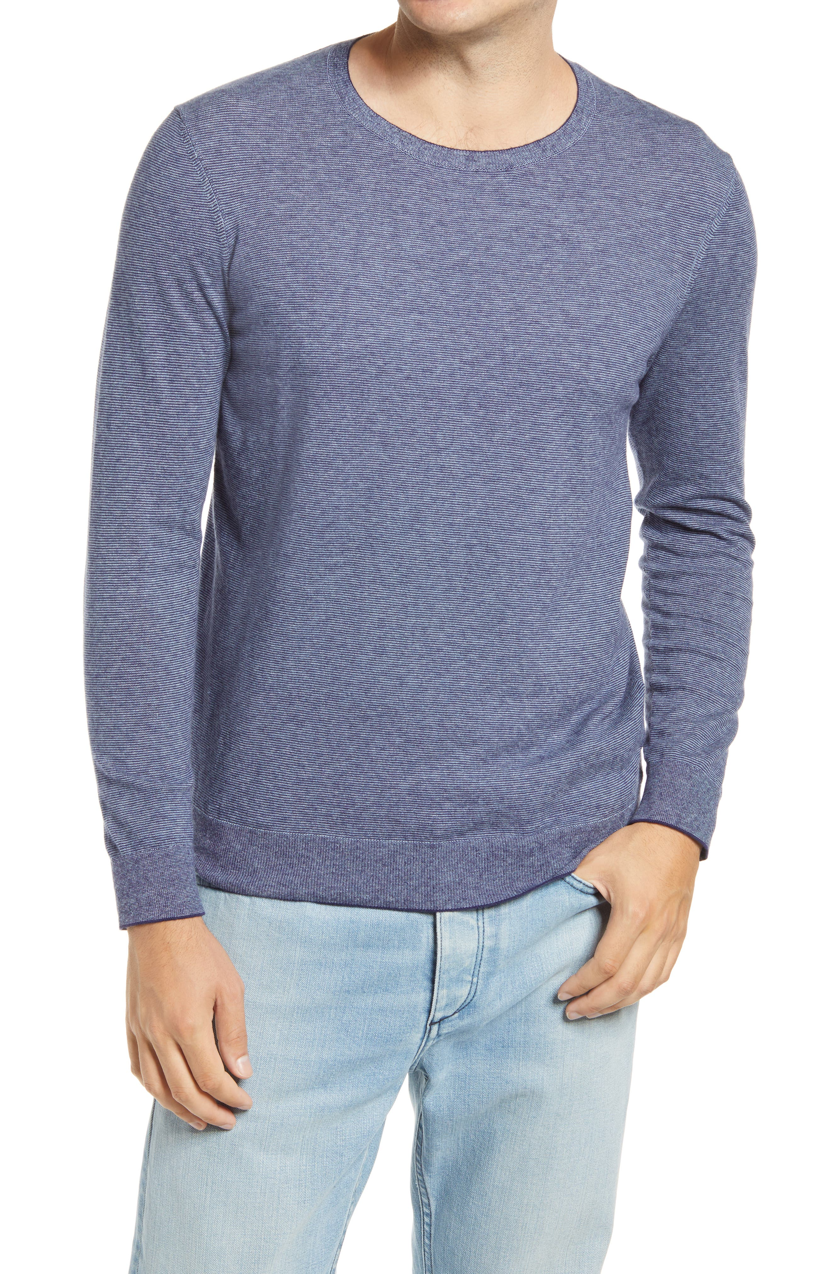 Thin stripes texture this light and layer-ready sweater that\\\'s knit from a soft blend of cotton and certified sustainable fibers. Style Name: Bonobos Lightweight Stripe Sweater. Style Number: 5986935. Available in stores.