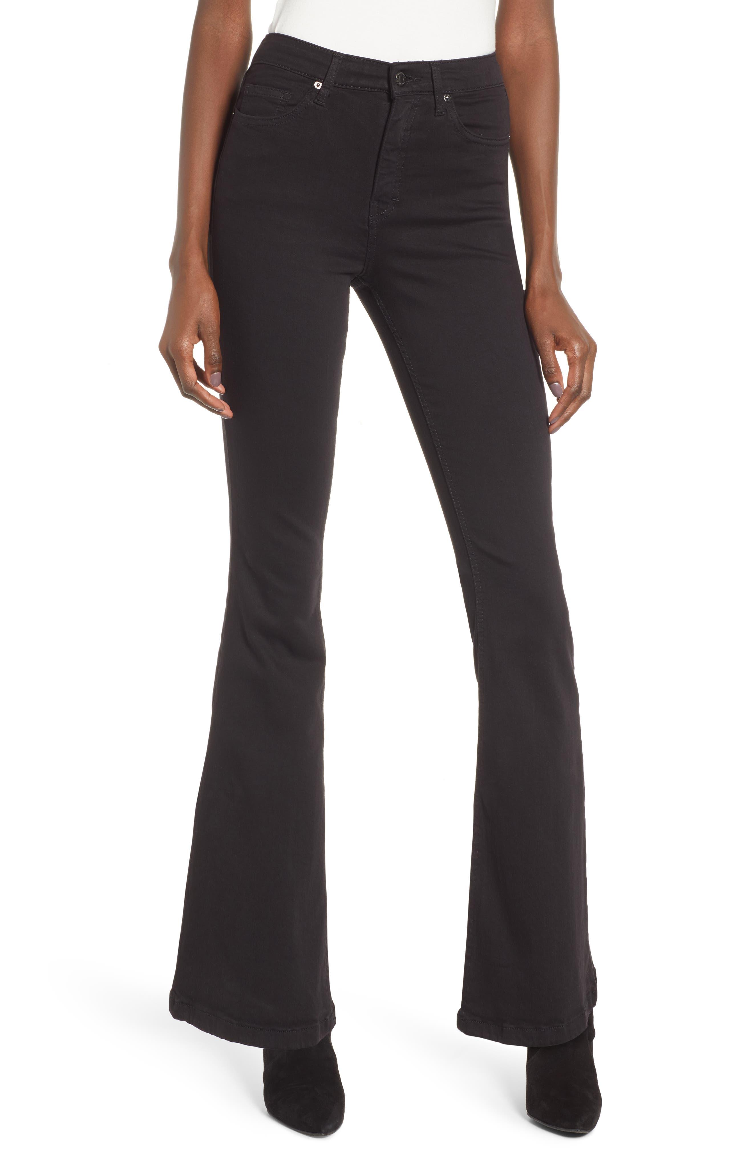 Petite Women's Topshop Jamie High Waist Flare Leg Jeans