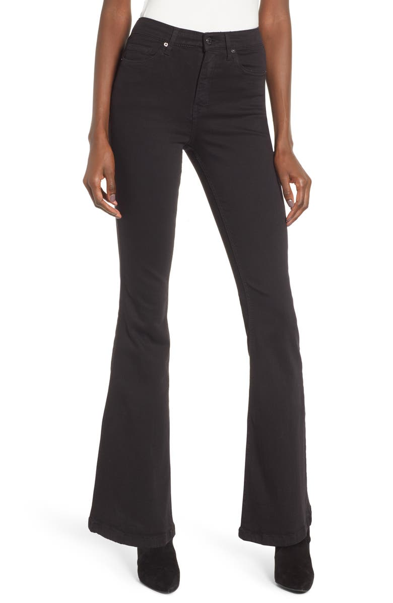 TOPSHOP Jamie High Waist Flare Leg Jeans, Main, color, OPEN BLACK