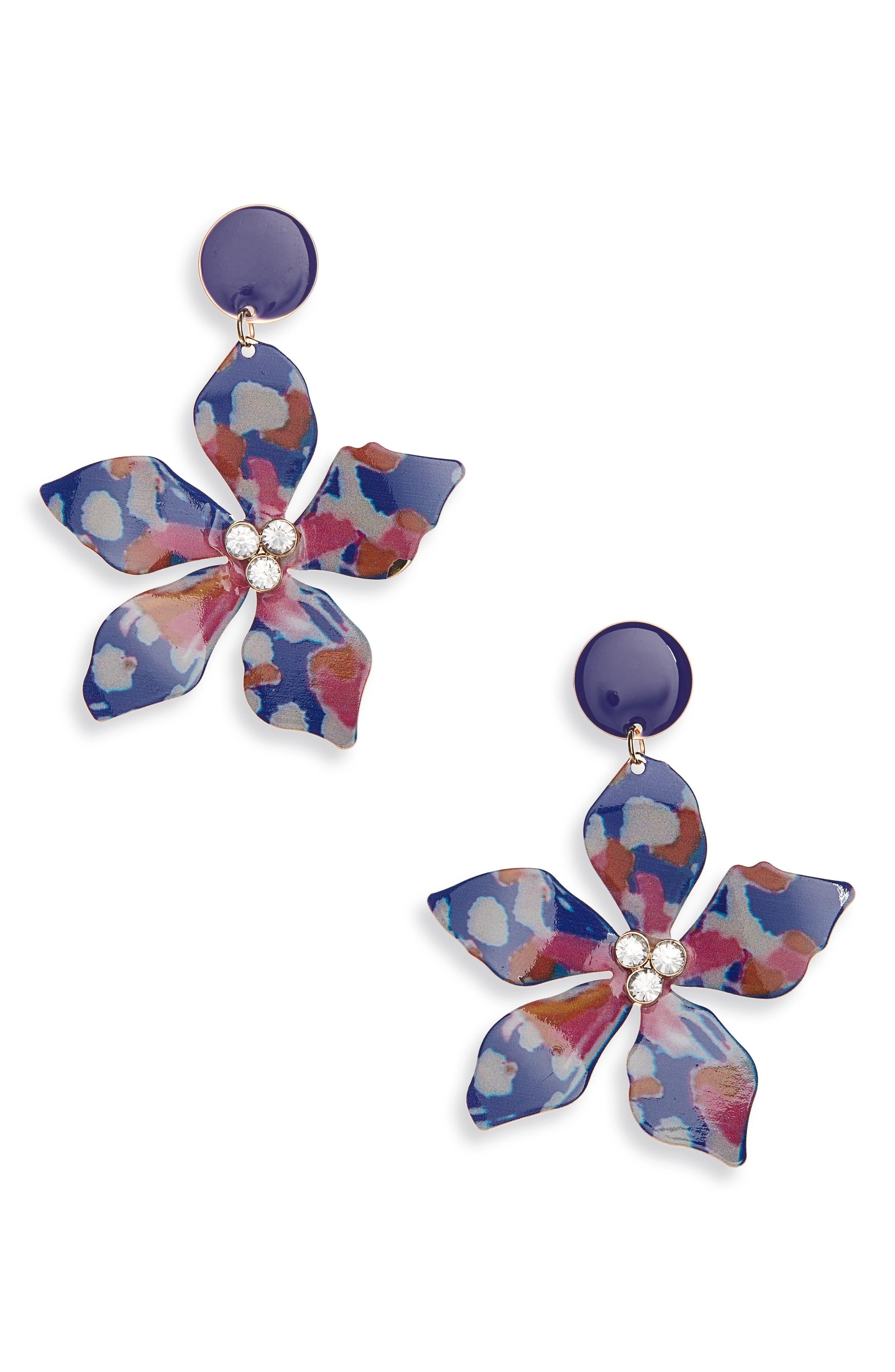 ,                             Flower Drop Earrings,                             Main thumbnail 1, color,                             BLUE MULTI- GOLD