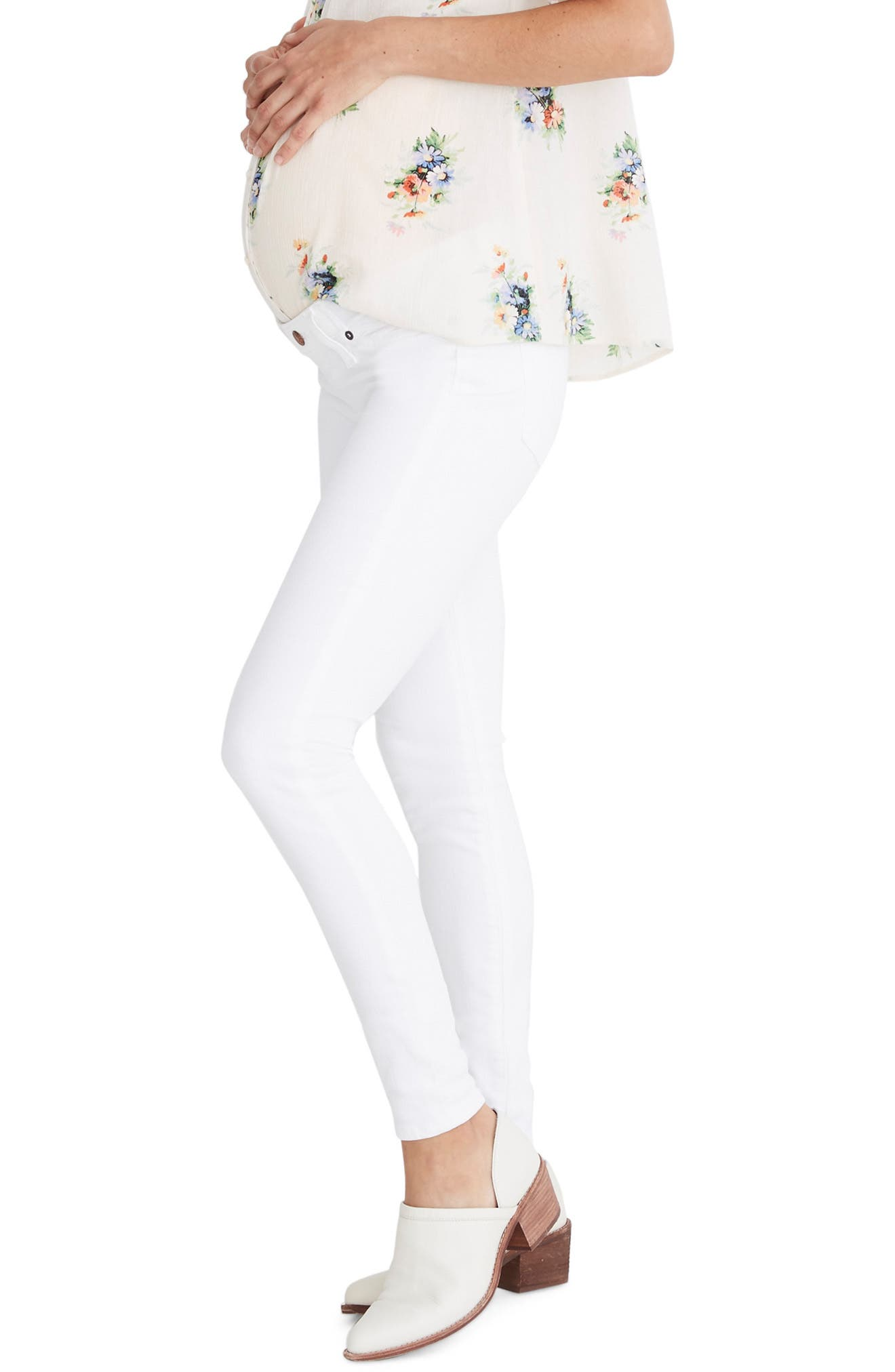 ,                             Maternity Skinny Jeans,                             Alternate thumbnail 2, color,                             PURE WHITE