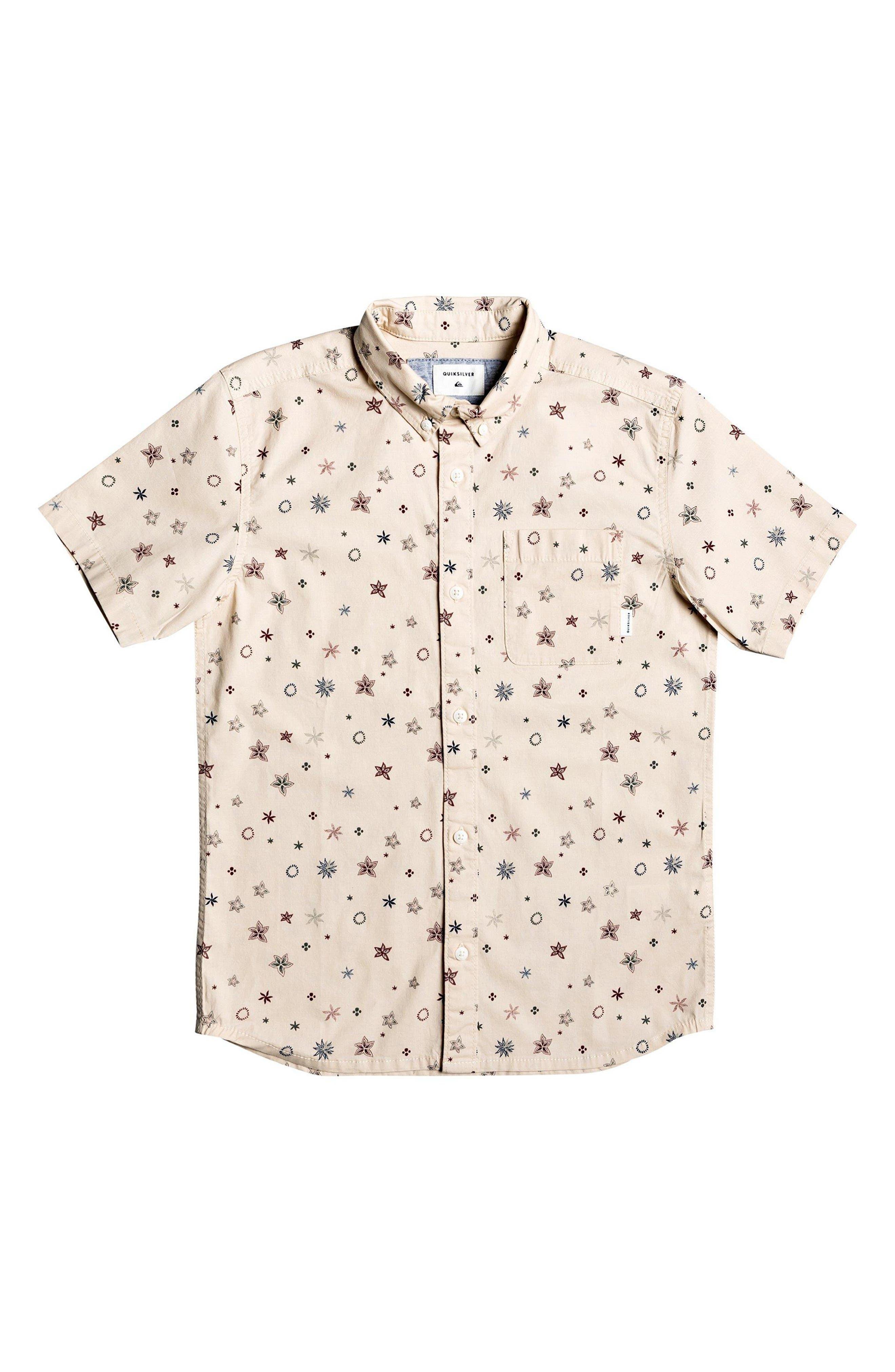 Boys Quiksilver Ditsy Print ButtonDown Shirt Size XL (16)  Brown