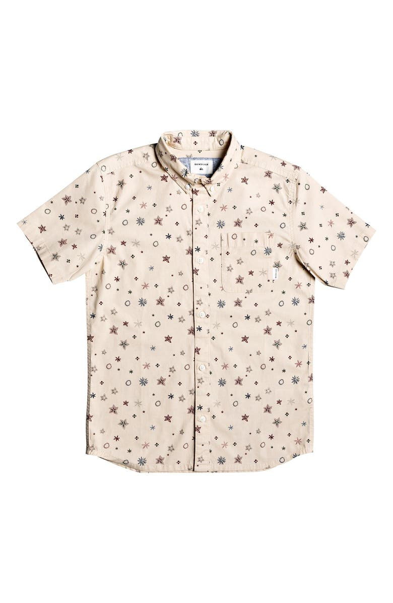 QUIKSILVER Ditsy Print Button-Down Shirt, Main, color, 200