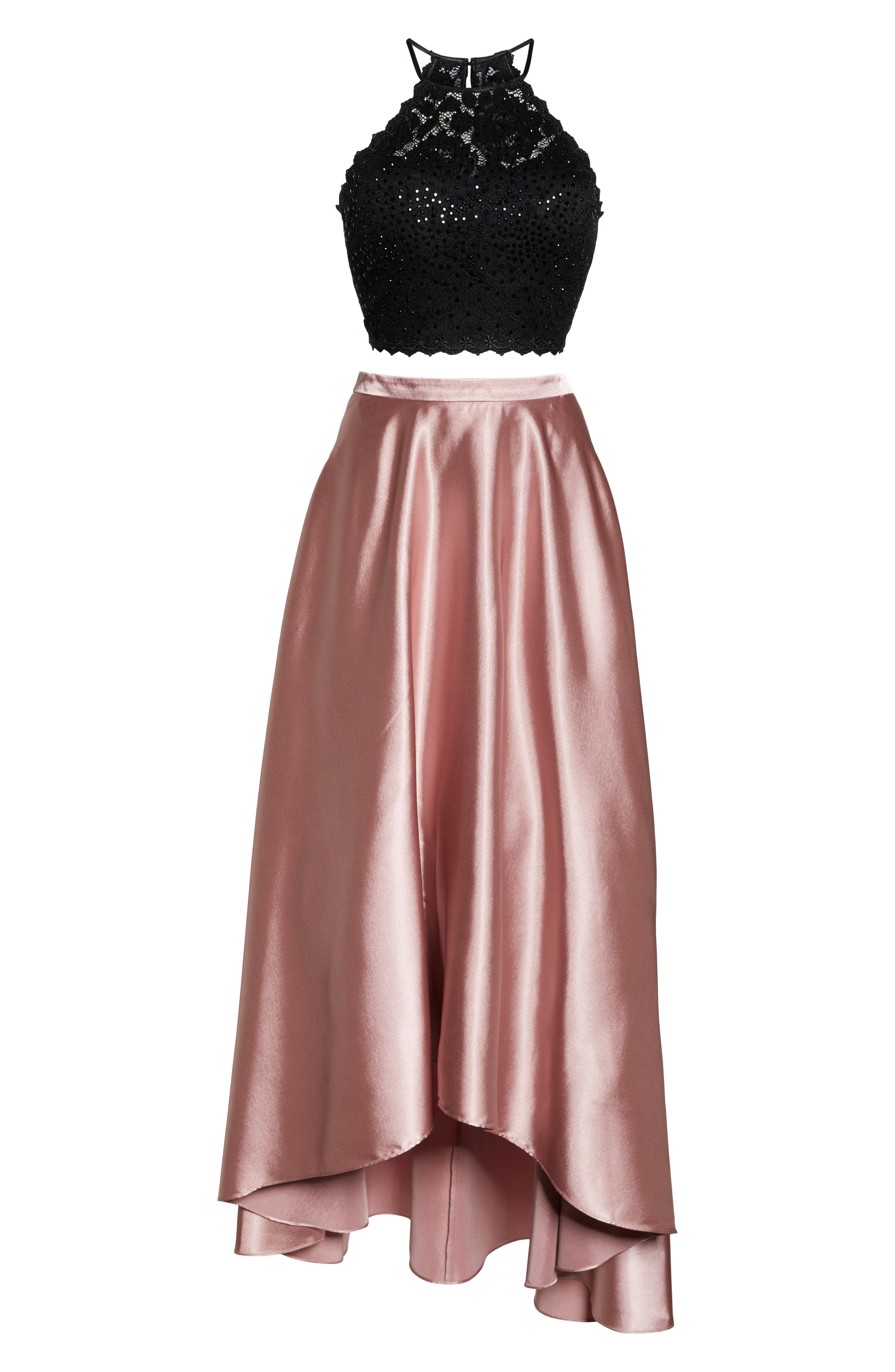 ,                             Glitter Lace & Satin High/Low Two-Piece Evening Dress,                             Alternate thumbnail 7, color,                             ROSE/ BLACK