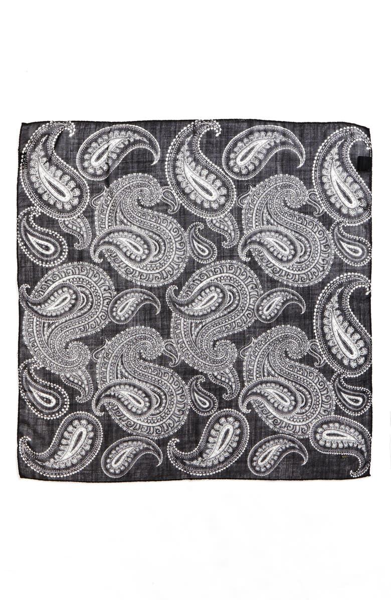 SAINT LAURENT Bandana Paisley Wool Scarf, Main, color, BLACK/ IVORY