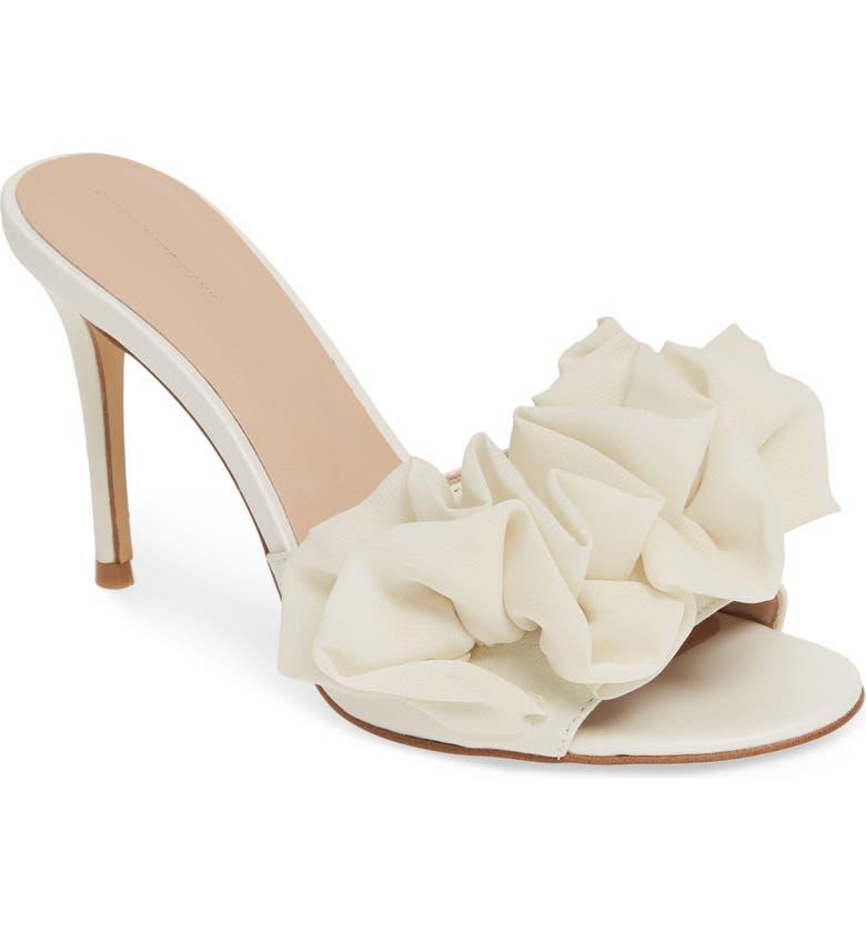 SOMETHING NAVY Ruffle Dress Slide Sandal, Main, color, 901