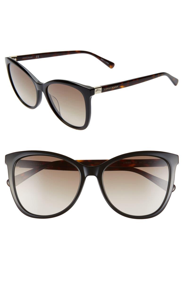 LONGCHAMP Le Pliage 55mm Gradient Cat Eye Sunglasses, Main, color, BLACK HAVANA/ KHAKI