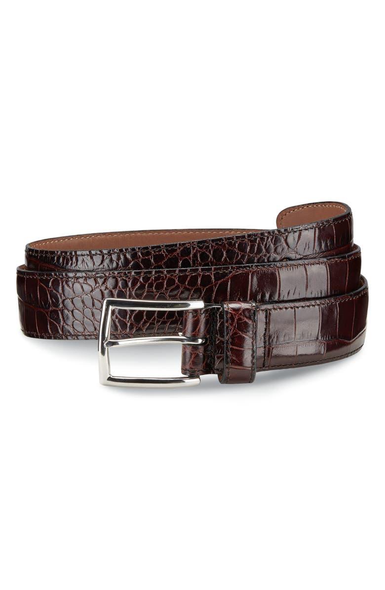 ALLEN EDMONDS Everglade Avenue Leather Belt, Main, color, BROWN