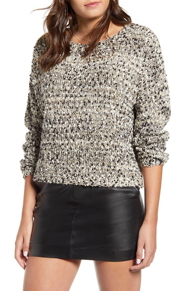 J.O.A. Button Back Sweater, Main, color, TAUPE MULTI