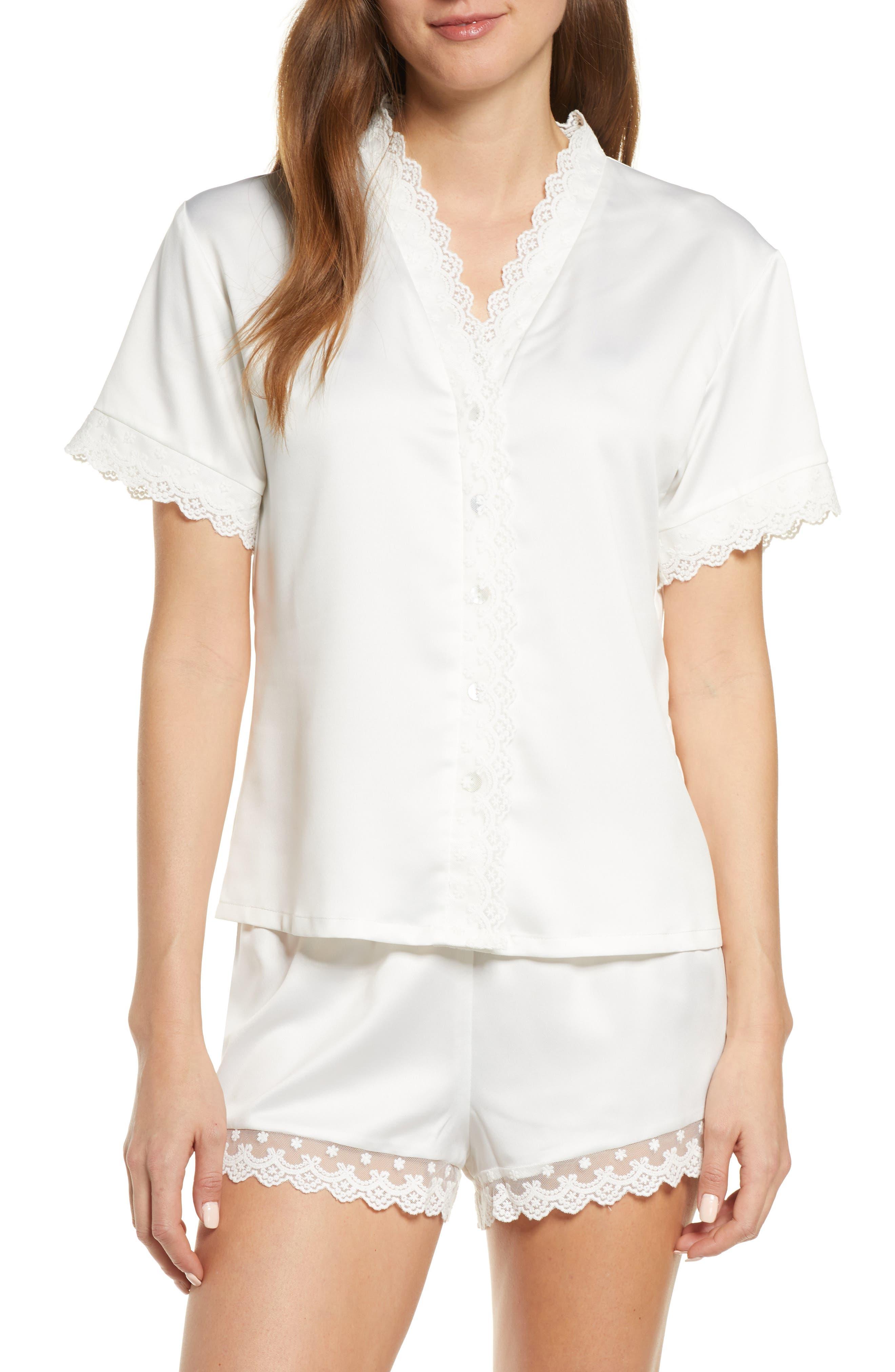 1940s Sleepwear: Nightgowns, Pajamas, Robes, Bed Jackets Womens Flora Nikrooz Victoria Short Satin Pajamas $57.00 AT vintagedancer.com