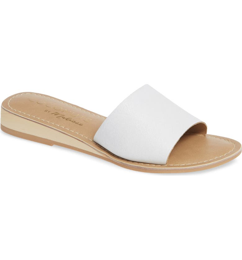 COCONUTS BY MATISSE Tiki Slide Sandal, Main, color, WHITE LEATHER