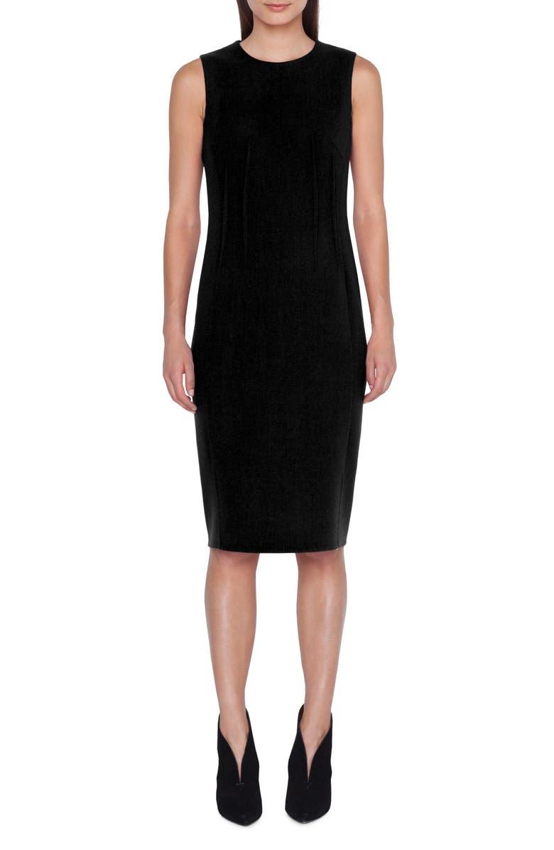 AKRIS Dart Detail Wool Crepe Sheath Dress, Main, color, BLACK