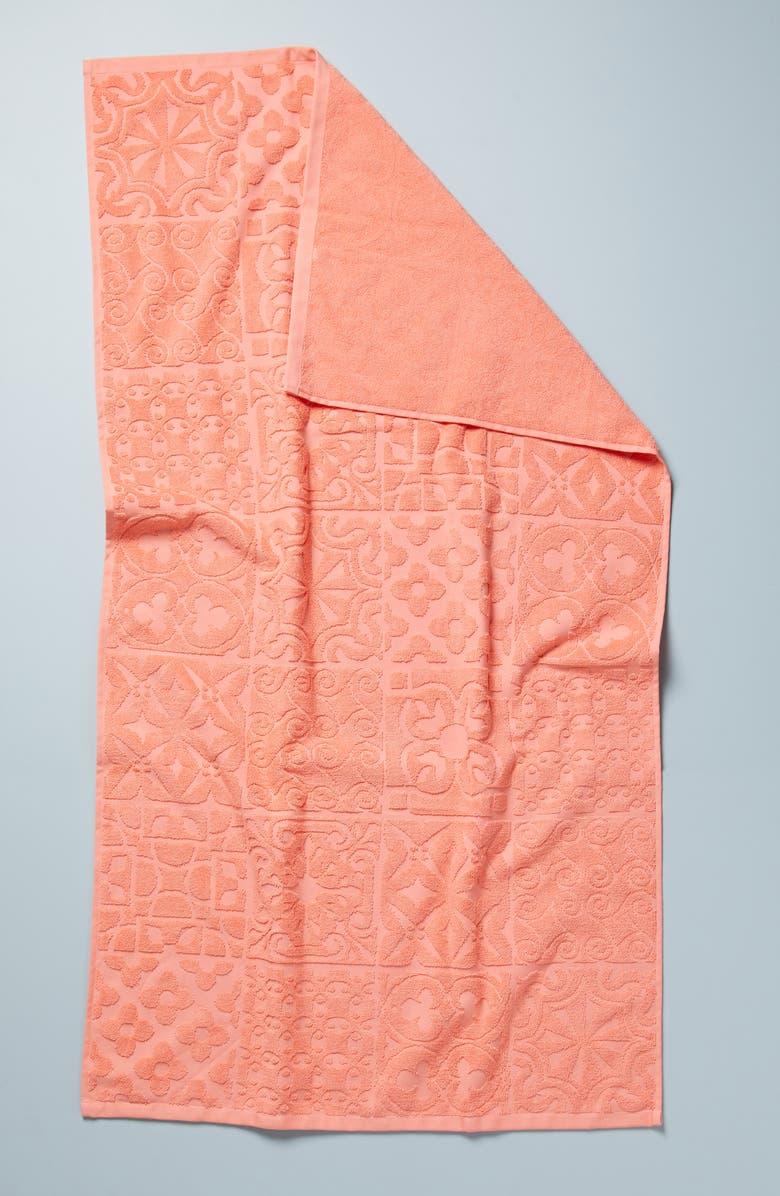 ANTHROPOLOGIE Mack Bath Towel, Main, color, WHITE/ PINK