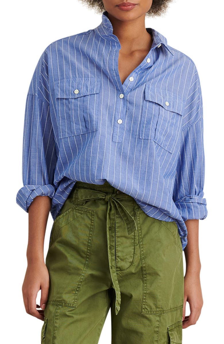 ALEX MILL Stripe Oversize Popover Shirt, Main, color, BLUE/ WHITE