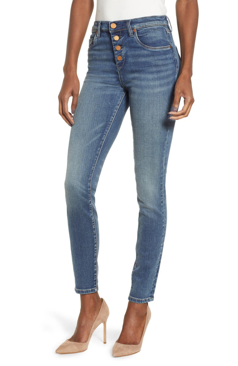 BLANKNYC Button Fly Skinny Jeans, Main, color, 400
