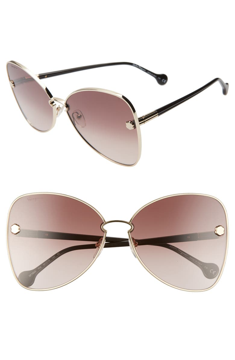 Salvatore Ferragamo Fiore 64mm Oversize Gradient Butterfly Sunglasses Nordstrom
