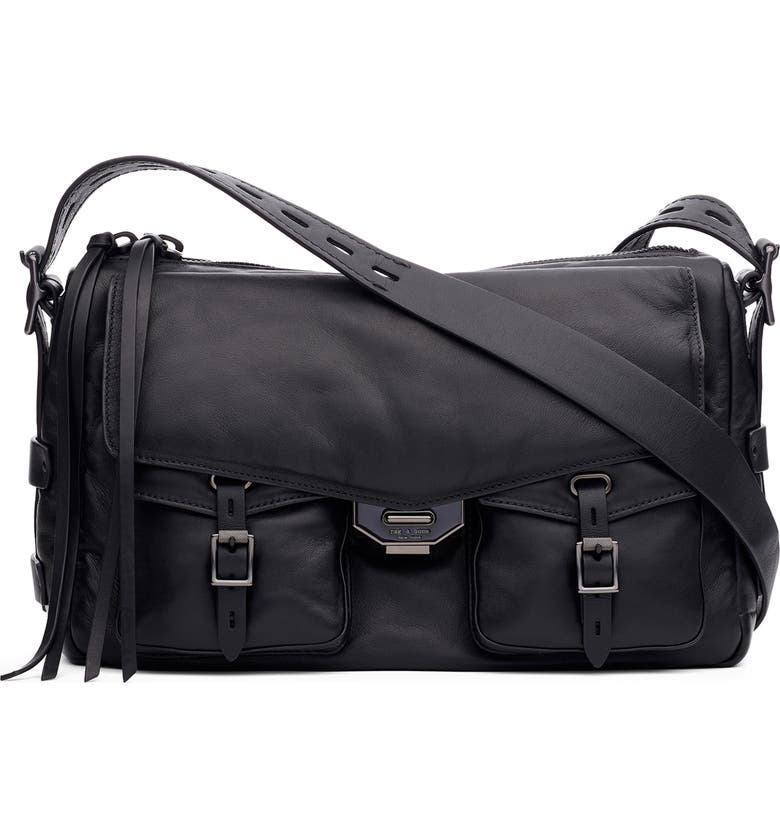 RAG & BONE Field Puffer Leather Messenger Bag, Main, color, BLACK