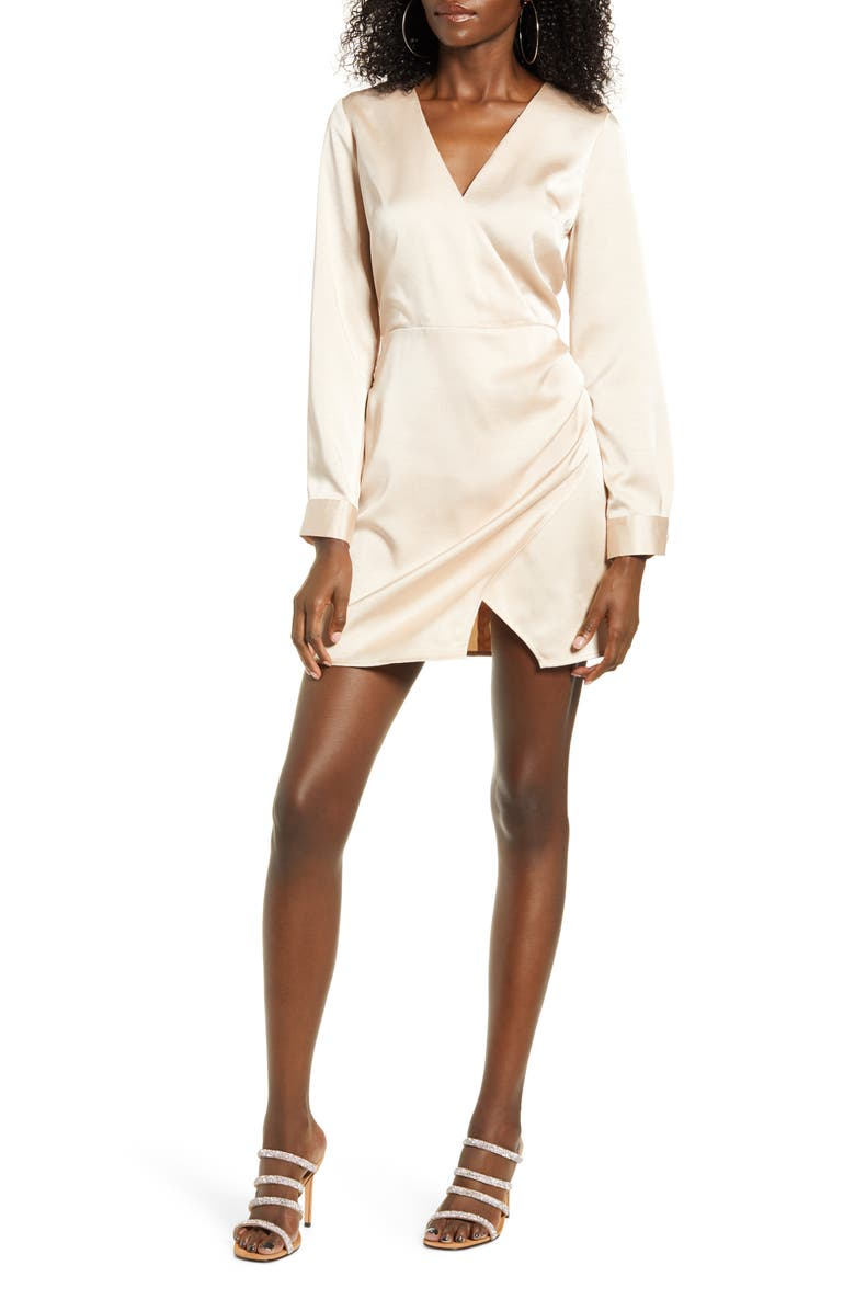 J.O.A. Pleat Detail Long Sleeve Satin Minidress, Main, color, CHAMPAGNE