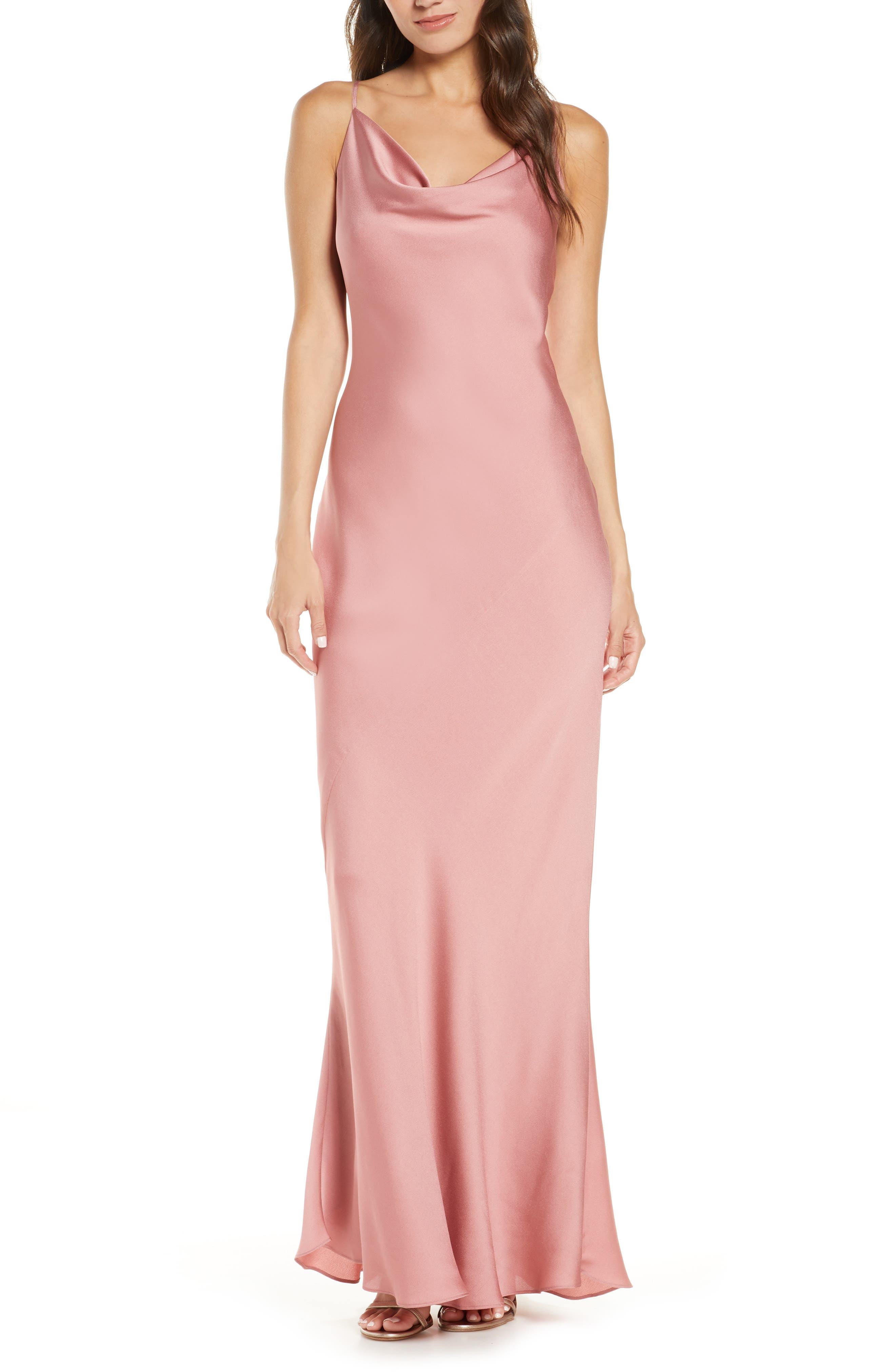 Image of SHONA JOY Cowl Neck Satin Gown