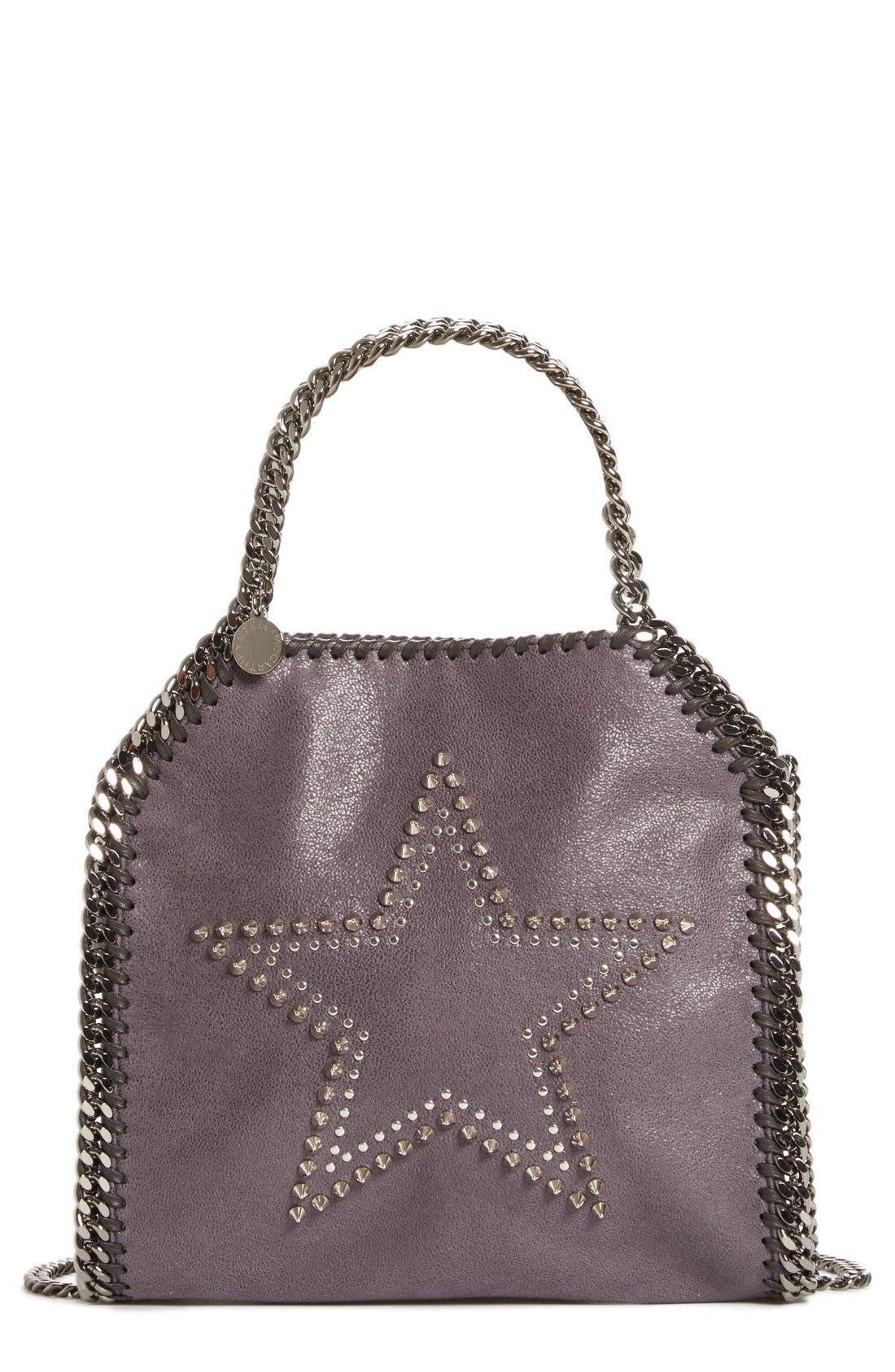 ,                             'Mini Falabella' Studded Faux Leather Star Tote,                             Main thumbnail 1, color,                             001