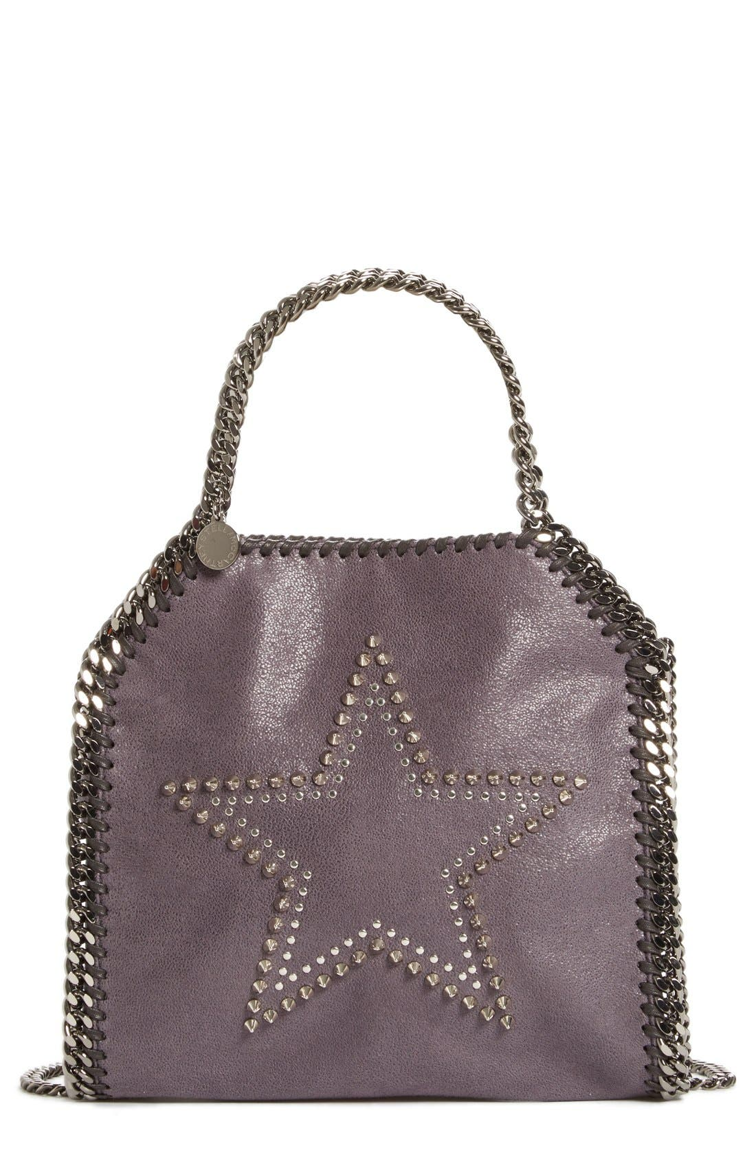'Mini Falabella' Studded Faux Leather Star Tote, Main, color, 001
