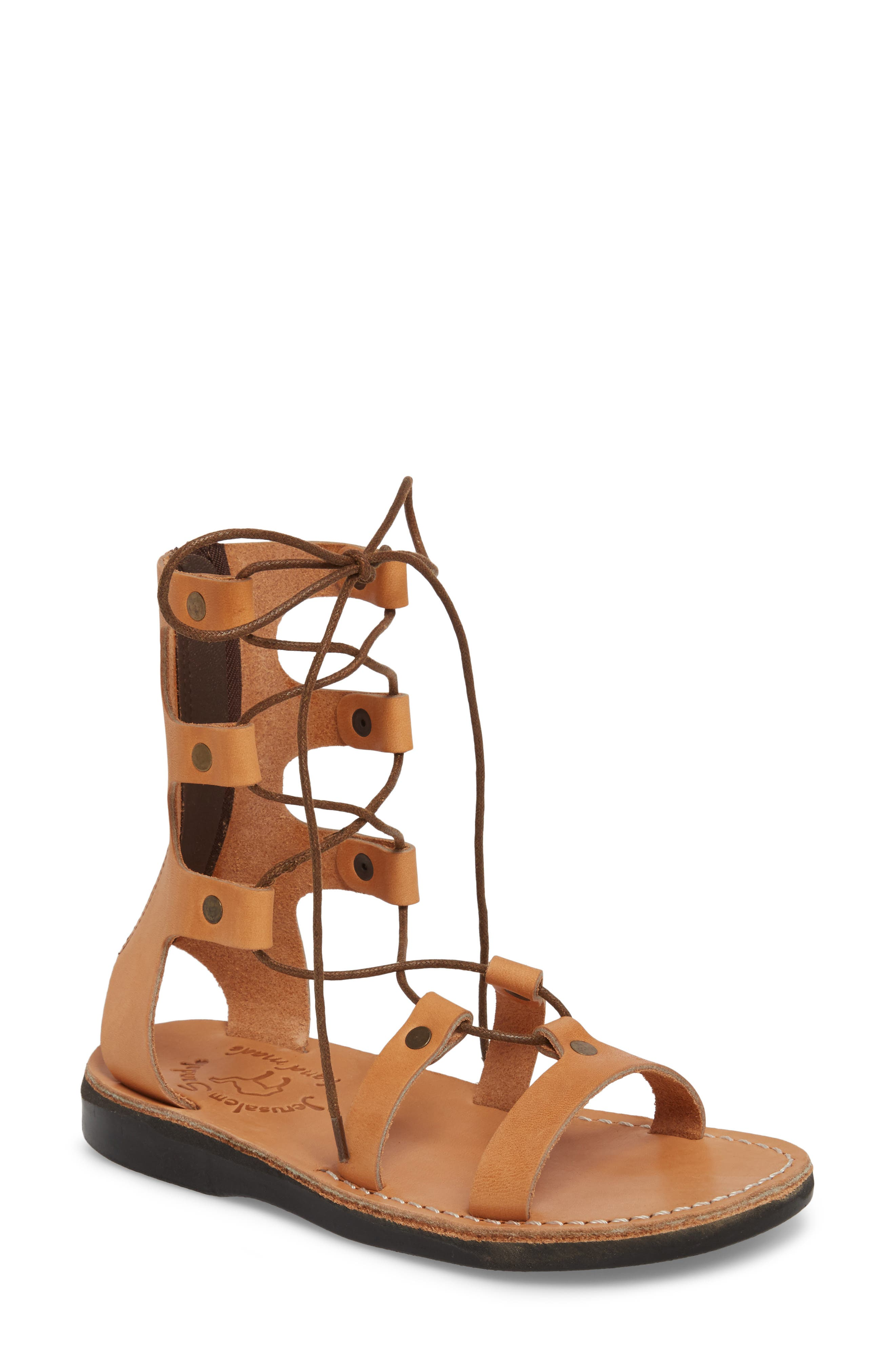Designed as a tribute to 2,000-year-old Middle Eastern footwear, these natural-leather sandals are handmade in Israel by skilled craftsmen. We\\\'re not saying that they\\\'ll last for 40 years in the wilderness, but they sure are comfortable. Style Name: Jerusalem Sandals Rebecca Sandal (Women). Style Number: 5530854. Available in stores.