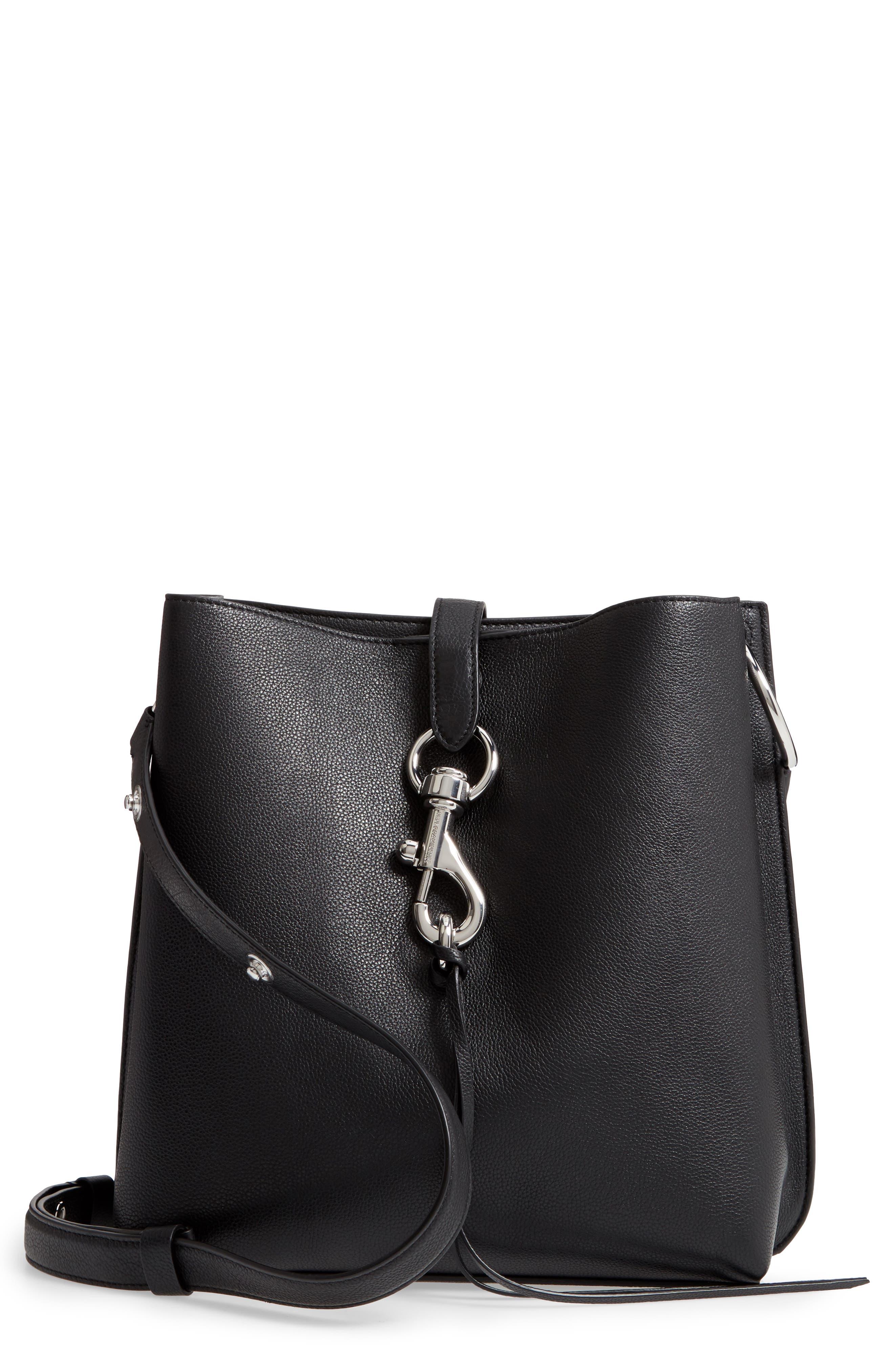 Megan Leather Crossbody Bag, Main, color, BLACK