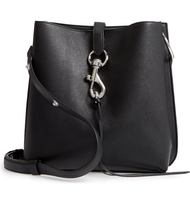 REBECCA MINKOFF Megan Leather Shoulder Bag, Main, color, BLACK