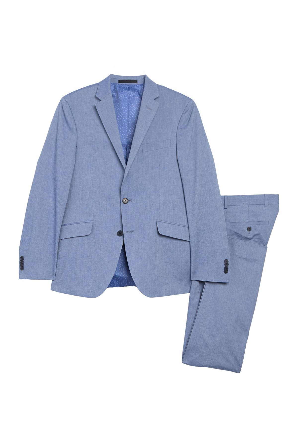 Image of Kenneth Cole Reaction Chambray Stretch Performance Modern Fit 2-Piece Suit
