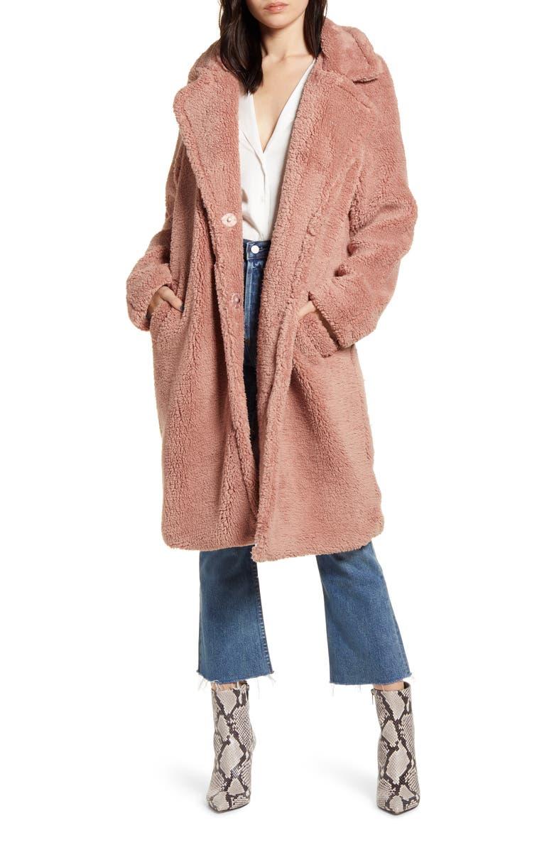 BARDOT Long Faux Shearling Coat, Main, color, BLUSH PINK