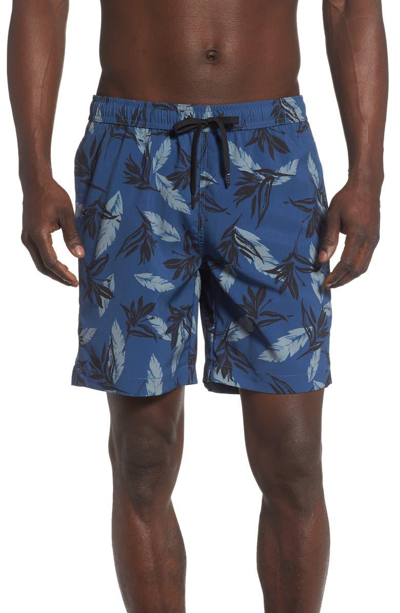 ONIA Charles Birds of Paradise Swim Trunks, Main, color, DEEP SKY
