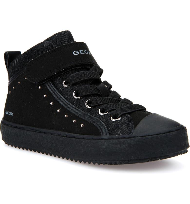 GEOX Kalispera High Top Sneaker, Main, color, BLACK