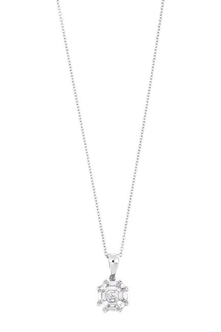 Image of Bony Levy Mika 18K White Gold Invisible Set Asscher Cut Diamond Pendant Necklace