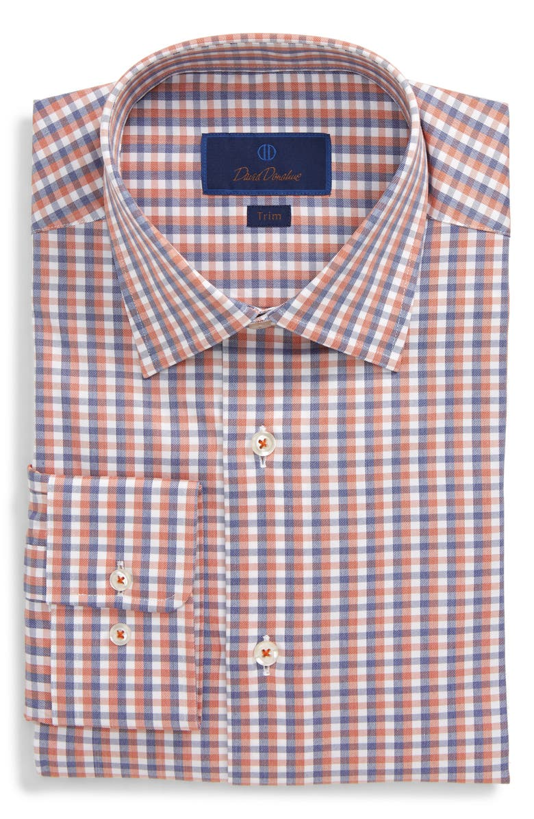 DAVID DONAHUE Check Trim Fit Dress Shirt, Main, color, 817