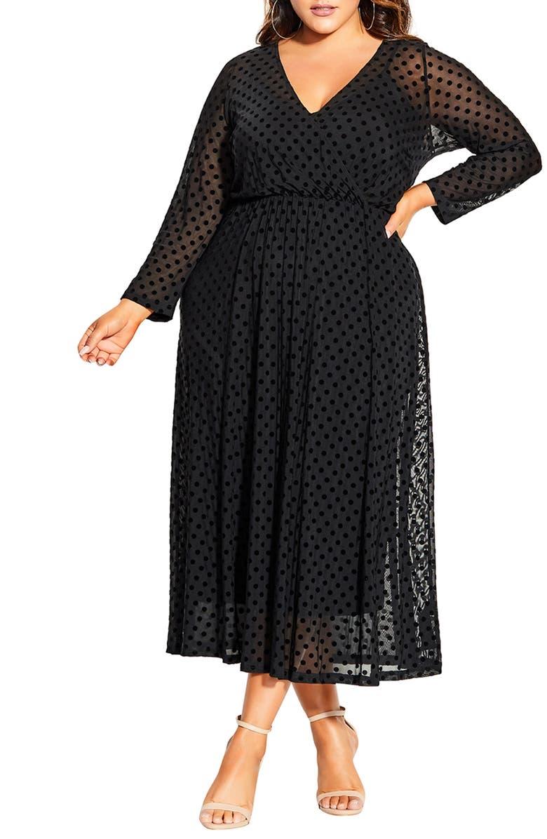CITY CHIC Flock Spot Long Sleeve Dress, Main, color, SPOT