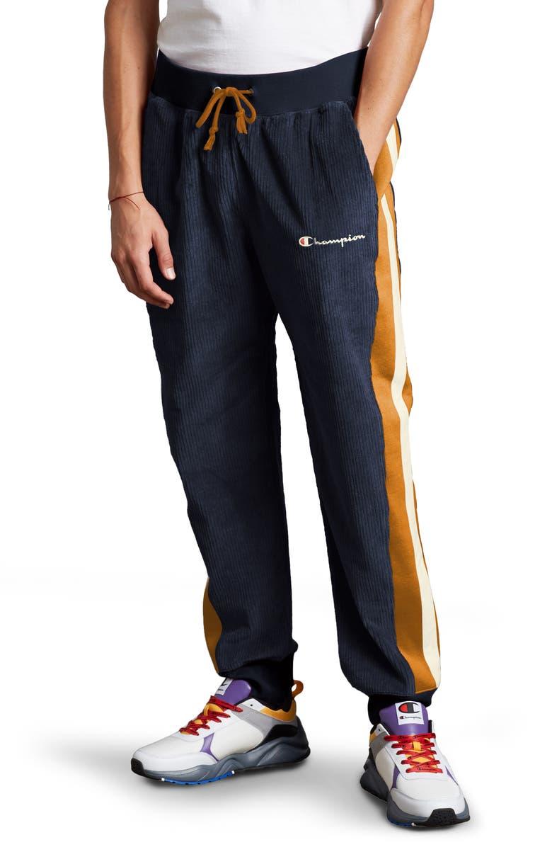 CHAMPION Corduroy Jogger Pants, Main, color, NAVY/ STATUS GOLD/ CHALK WHITE
