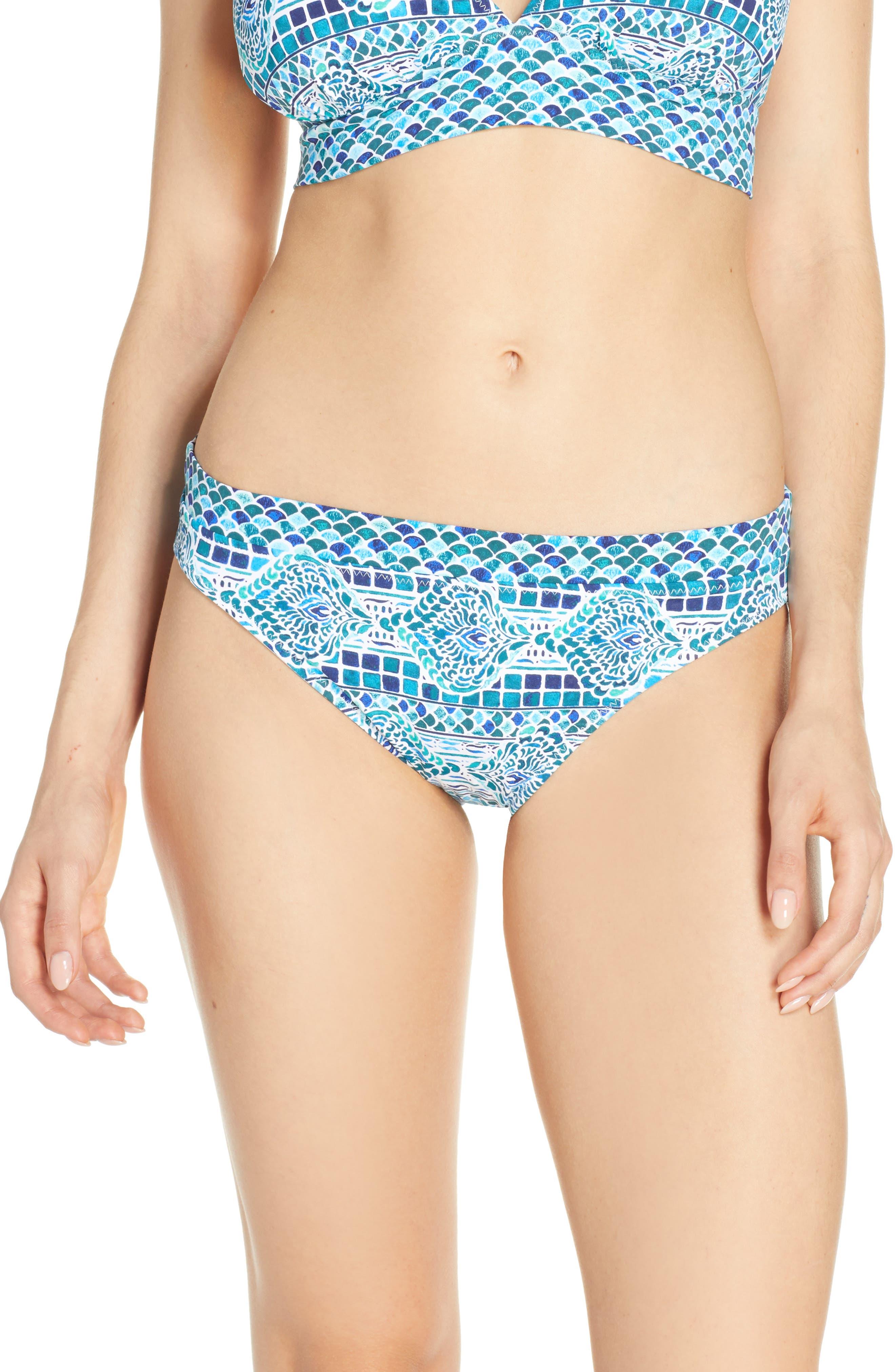 Tommy Bahama Floral Isles Reversible Bikini Bottoms, Blue/green