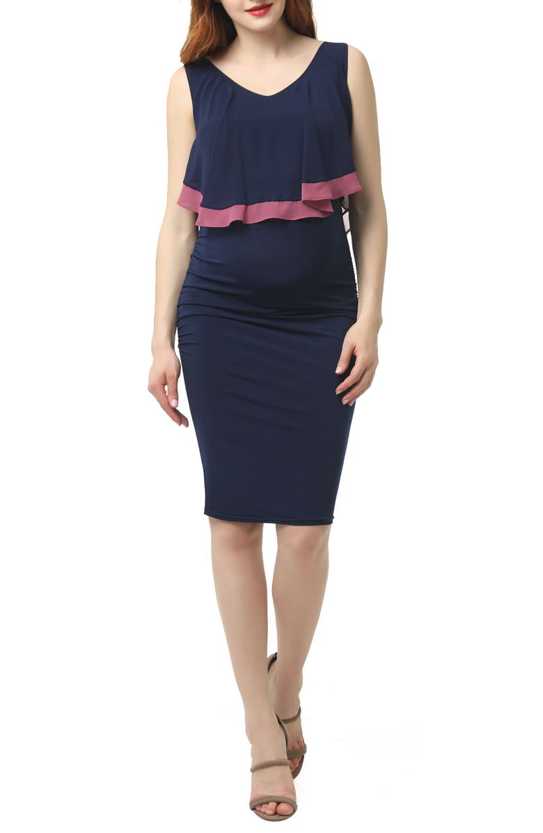 KIMI AND KAI Melissa Body-Con Maternity/Nursing Dress, Main, color, NAVY