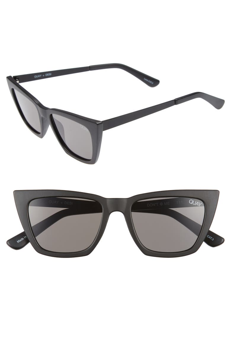 QUAY AUSTRALIA x Desi Perkins Don't @ Me 48mm Cat Eye Sunglasses, Main, color, BLACK/ SMOKE
