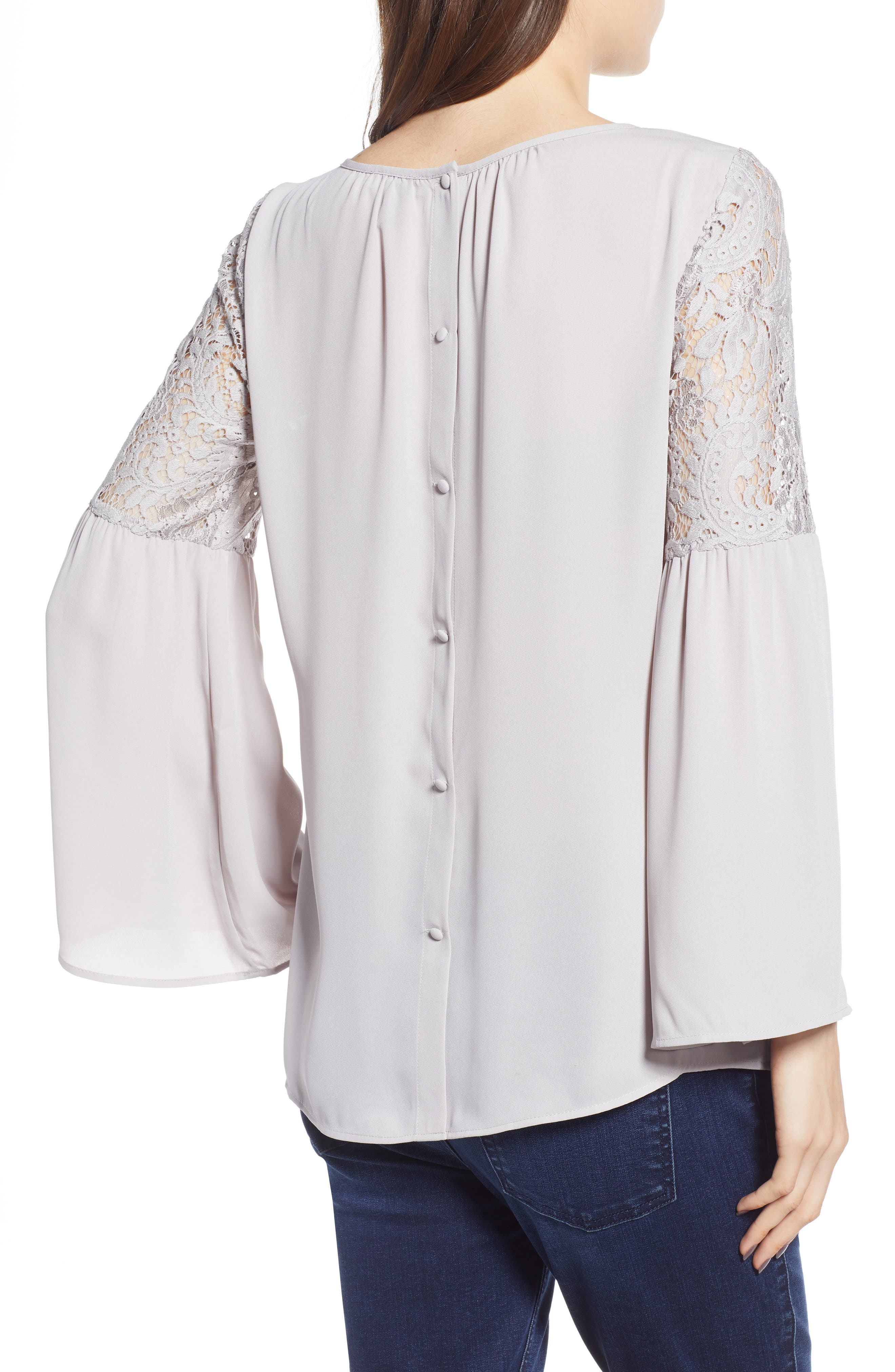 ,                             Lace Bell Sleeve Top,                             Alternate thumbnail 9, color,                             050