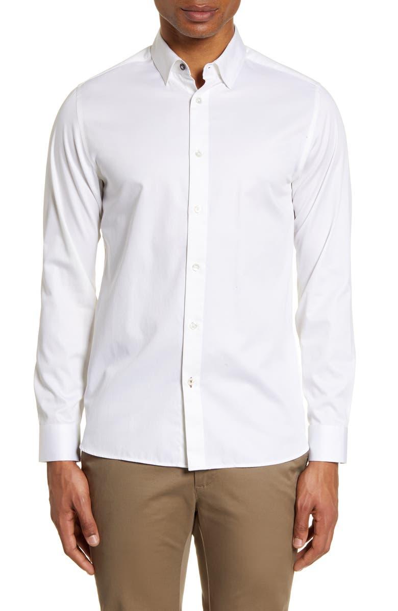 TED BAKER LONDON Bobcut Slim Fit Button Up Sport Shirt, Main, color, WHITE