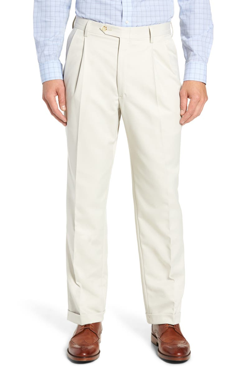 BERLE Classic Fit Pleated Microfiber Performance Trousers, Main, color, 027