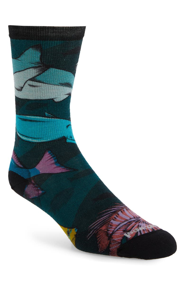 SMARTWOOL Curated Something's Fishy Crew Socks, Main, color, MEDITERRANEAN GREEN